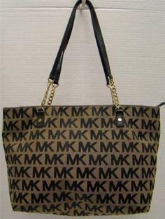 52f11b9e82b5 Michael Kors Beige Black Jet Set Chain EW Signature Jacquard Tote Bag  Handbag