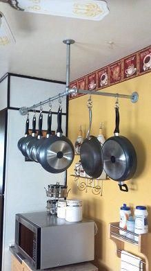 Pot rack made from galvanized pipe Would be great over the new storage cart we're building for next to the kitchen. Would save a ton of room. #potskitchenhanging Kitchen Pantry, Rustic Kitchen, Diy Kitchen, Kitchen Storage, Kitchen Design, Kitchen Decor, Laundry Storage, Garage Storage, Industrial Storage Racks