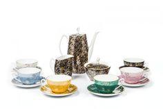 """116 Serwis do herbaty """"Aldona"""" (dla 6 osób), lata 70. XX w.  Zakłady Porcelany i Porcelitu w Chodzieży, proj. Józef Wrzesień"""
