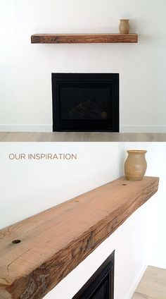 wooden shelf above the fireplace. Fireplace Shelves, Fireplace Mantle, Fireplace Design, Fireplace Ideas, Rustic Fireplaces, Modern Fireplace, Minimalist Fireplace, Wood Mantle, Muebles Living