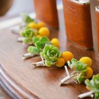 boutonniere with succulent and billy ball flowers