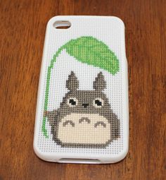 Totoro and Leaf Cross Stitch PATTERN PDF for iphone 4 case. $3.99, via Etsy.