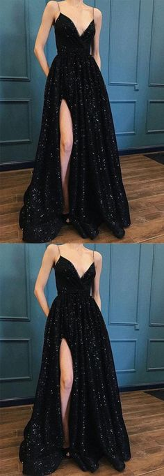 Black Prom Dress,spaghetti Straps Prom Gown,sexy Prom Dress,sequin Prom Dress With Split - Black Prom Dresses Black Sequin Prom Dress, Sequin Prom Dresses, Prom Dresses 2018, Black Prom Dresses, Black Sequins, Dress Lace, Prom Dress Long, Long Dresses, Split Prom Dresses
