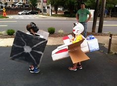 Kids Star Wars TIE Fighter And X-Wing cardboard cosplay
