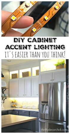 Upper and Lower Cabinet Lighting DIY Upper and Lower Cabinet Lighting.look on top like upper cabinets!DIY Upper and Lower Cabinet Lighting.look on top like upper cabinets! Easy Home Decor, Over Cabinet Lighting, Kitchen Remodel, Kitchen Decor, Home Remodeling, Diy Cabinets, Diy Kitchen, Kitchen Renovation, Kitchen Design