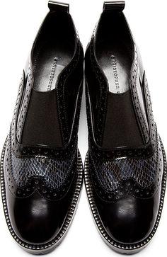 Christopher Kane Navy Snakeskin Print Wingtip Derby Shoes