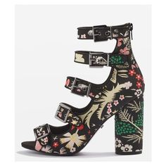 Topshop Robin Multi Strap Sandals (1,245 EGP) ❤ liked on Polyvore featuring shoes, sandals, floral pattern shoes, floral high heel shoes, peep toe shoes, high heel shoes and floral sandals