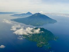 aerial views of Ternate and adjacent islands, Indonesia, of Places Ive Been, Places To Go, Maluku Islands, Archipelago, Aerial View, Bali, Waterfall, Explore, Adventure