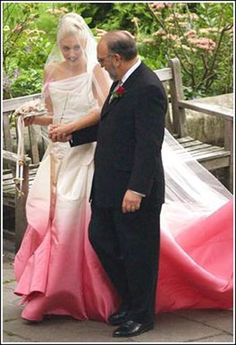 Gwen Stafani wore a dip dyed white & pink wedding gown by Dior @Genesis TheBeginning