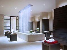 moderne freistehende Badewanne-Regendusche