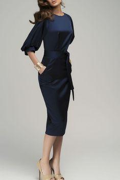 Navy Blue Puff Sleeve Belt Knee-Length Chiffon Pencil Dress