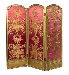 A Louis XVI Style Giltwood Three-Panel Floor Screen, Height 69 1/2 x width of each panel 23 1/2 inches.