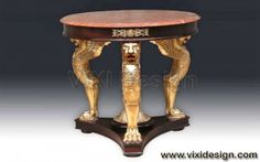 Lion side table with gold leaf finish (gilded furniture). Antique reproduction furniture with special carving from Jepara. Made from mahogany wood and we use marble for top table.