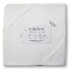 Swaddledesigns Organic Ultimate Receiving Blanket Ivory with Color Trim