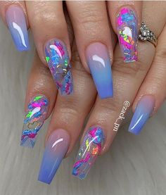 40 Fabulous Nail Designs That Are Totally In Season Right Now These fabulous nail art designs are super unique and glamorous, these will give you the trendy looks and give your nails a whole new. Cute Acrylic Nail Designs, Nail Art Designs, Nails Design, Unique Nail Designs, Glitter Nail Designs, Clear Nail Designs, Ombre Nail Designs, Beautiful Nail Designs, Fabulous Nails