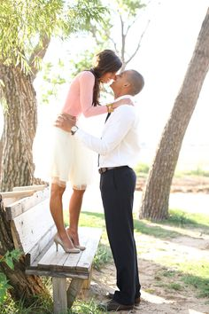 Super cute outdoor engagement photos-we love the soon-to-be bride's white skirt. Photo by Aaron Snow Photography. www.wedsociety.com #wedding #engaged