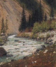 russian-painting:Vasily Vasilyevich Vereshchagin - Mountain stream in Kashmir, Oil on canvas, 28 x 24 cm.The State Tretyakov Gallery, Moscow, Russia. Russian Painting, Russian Art, Vintage Landscape, Ukrainian Art, Watercolor Trees, Watercolor Painting, Mountain Paintings, Oil Painting Reproductions, Environmental Art