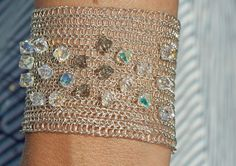 Bridal silver wire crochet cuff bracelet handmade with by KvinTal, $47.00
