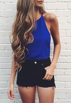 Casual summer outfit. Blue is definitely a warm colour to me...
