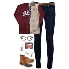 OOTD- school by classically-preppy on Polyvore featuring polyvore, fashion, style, J Brand, Patagonia, L.L.Bean, J.Crew, Vineyard Vines, Lauren Ralph Lauren, Madewell, NARS Cosmetics and Essie