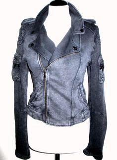 * * * DIESEL Sweatjacke grau, Gr.M * * * Motorcycle Jacket, Leather Jacket, Fashion, Clothing Accessories, Jackets, Grey, Studded Leather Jacket, Moda, Leather Jackets