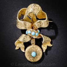 Victorian Gold and Turquoise Bow Brooch With Locket $2,875.00