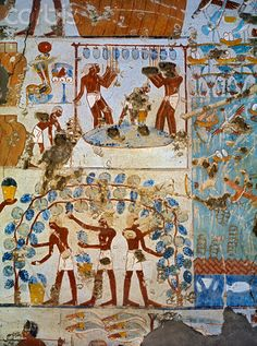 Painting of wine production from the Tomb of Menkheper