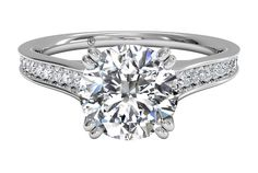 Micropavé Diamond Band Engagement Ring with Surprise Diamonds - in Platinum (0.17 CTW)