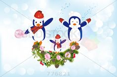 stock illustration of vector illustration of three singing penguins on gradient blue horizontal background with holly