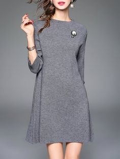 Gray Knitted Sleeve Plain Crew Neck Sweater Dress with Brooch Blouse Dress, Dress Skirt, Bodycon Dress, Fashion 2020, Star Fashion, Cute Dresses, Dresses For Work, Patron Vintage, Designer Dresses