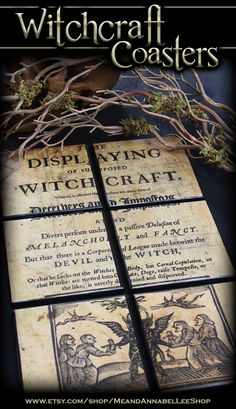 """Tile Drink coasters... each tile displays a different image, but when put together, fit like a puzzle to display the full image from the book """"The Displaying of Supposed Witchcraft"""" 1677 by John Webster.  #witchtrials #wiccan #pagan #witchcraft"""