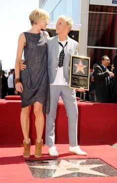 Ellen DeGeneres Photos - Ellen Degeneres honored with star on the Hollywood Walk of Fame. Hollywood, CA.September - Ellen Degeneres on the Walk of Fame Hollywood Walk Of Fame, Hollywood Boulevard, Ellen Degeneres And Portia, Ellen And Portia, Portia De Rossi, The Ellen Show, Tomboy Fashion, Celebs, Celebrities