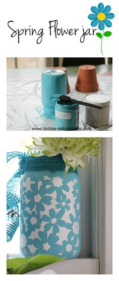 How to make a Spring flower jar - darling diy home decor project #bHomeApp
