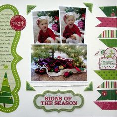 scrapbook layout Christmas using scraps of paper or ribbon
