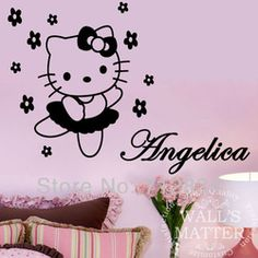 Online Shop [B.Z.D] Free Shipping DIY Hello Kitty Personalized Name Art Decals Home Decor & Personalised hello kitty your name wall stickers mural girls bedroom ...