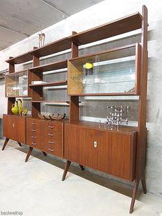 Vintage design wall unit Danish / vintage design kast vintrine kast modulair wandsysteem Deense stijl