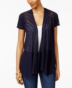 Style & Co Petite Mixed-Media Open-Front Cardigan, Only at Macy's - Blue P/XS