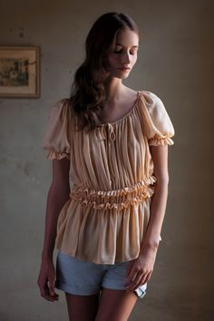 Silk Ruched Peasant Blouse (Anthropologie).