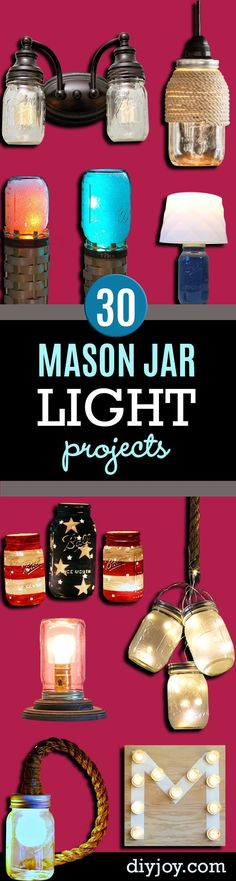 Mason Jar Lights -  DIY Ideas with Mason Jars for Outdoor, Kitchen, Bathroom, Bedroom and Home, Wedding. How to Make Hanging Lanterns, Rustic Chandeliers and Pendants, Solar Lights for Outside  http://diyjoy.com/diy-mason-jar-lights-lanterns