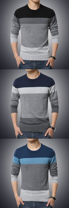 Men's Casual/Daily Plus Size Simple Regular Pullover,Color Block Round Neck Long Sleeves Cotton Pullover.