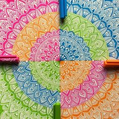 Four colours of STAEDTLER – by the gifted 👏💕Are you talented, too? Mandala Art Lesson, Mandala Doodle, Mandala Artwork, Mandala Drawing, Mandala Painting, Dibujos Zentangle Art, Zentangle Drawings, Art Drawings Sketches, Zentangles