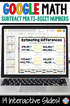 """LOVE THE VARIETY OF SLIDES!"" With this 4th Grade Subtracting Multi-Digit Numbers {4.NBT.4} digital resource for Google Slides, your students will practice subtracting numbers through 1,000,000 with regrouping. Teaching Technology, Teaching Biology, Addition And Subtraction Practice, Subtraction With Regrouping Worksheets, Science Worksheets, Math Resources, Google Classroom, Math Classroom, Google Math"