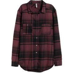 H&M Checked flannel shirt ($31) ❤ liked on Polyvore featuring tops, shirts, flannel, button ups, burgundy, purple button up shirt, purple long sleeve shirt, button down shirts, button up shirts and purple shirt