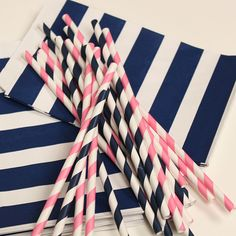 Paper Straws, Preppy Pink and Navy Striped Assortment Paper Drinking Straws with DIY Flags, Nautical, Graduation Parties, Bridal Showers