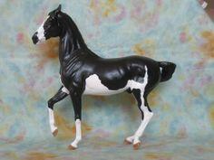 Breyer Horse Custom Marwari OOAK Resculpt Mane & Headset Black Splash Pinto Cm