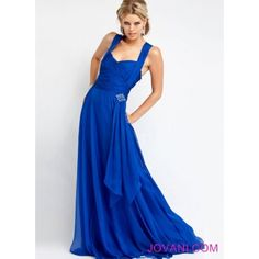 STRAP. Sheath Strap Criss-Cross Chiffon Long Royal Blue Formal Dress