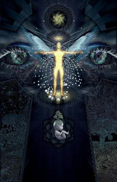 """""""Evolution is the development of the energy of the universe in such a way that it has an increasing ability to consciously control itself and the universe around it. It is a progressive change from the unconscious to the conscious. We are the universe trying to comprehend itself. Man is the corporeal manifestation of the universe trying to control its own destiny. Man is God in the process of coming into existence."""" ~ James Hart Artwork: Alex Polanco"""
