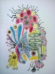 la-culminacion-del-exito-observados-por-dos-madres.jpg - Pintura,  20x30x1 cm ©2016 por Godié -                                            Arte abstracto, Papel, Godié, comprar arte, arte contemporaneo español