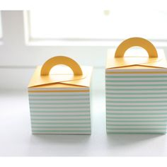 Green Stripe Yellow Handle Gift Box5boxes  95 by verryberrysticker, $4.99