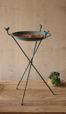metal bird bath (or feeder)